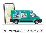 van for delivery pharmaceutical ... | Shutterstock . vector #1857074935