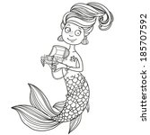 cute mermaid holding a chest... | Shutterstock .eps vector #185707592