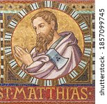 Small photo of VIENNA, AUSTIRA - OCTOBER 22, 2020: The detail of apostle St. Matthias (replacement of Judas Iscariot) from mosaic of Immaculate Conception in church Pfarrkirche Kaisermuhlen.