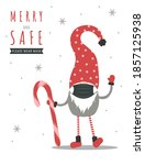 christmas gnome wearing a... | Shutterstock .eps vector #1857125938