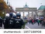 Small photo of BERLIN, GERMANY 18.11.2020. Demo in Berlin with the police at the Victory Column against the Corona Covid-19 regulations and for human rights.