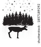 reindeer and forest and stars... | Shutterstock .eps vector #1857189292