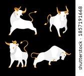 bull set with golden horns ...   Shutterstock .eps vector #1857191668