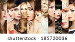 beauty collage. faces of women. ... | Shutterstock . vector #185720036
