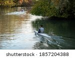 Russia. Krasnodar region. City Of Krasnodar. November 3, 2020. Kayak training. The center of sports preparation on rowing on kayaks and a canoe. Staraya Kuban Lake. - stock photo