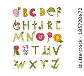 hand drawn alphabet   nature... | Shutterstock .eps vector #185720672