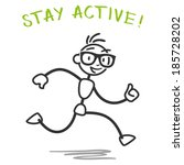 stick man  running healthy... | Shutterstock . vector #185728202