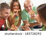 four friends enjoying to eating ... | Shutterstock . vector #185728292