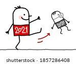 hand drawn cartoon big 2021 man ... | Shutterstock .eps vector #1857286408