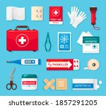first aid kit flat icons set.... | Shutterstock .eps vector #1857291205