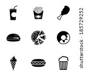 vector black fast food icons... | Shutterstock .eps vector #185729252