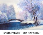 Winter Landscape With A River...