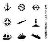 Vector Black Nautical Icons Se...