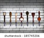 multiple beer taps in a row | Shutterstock . vector #185745206