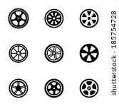 vector black wheel disks icons... | Shutterstock .eps vector #185754728