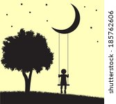 child on swings hanging from... | Shutterstock .eps vector #185762606