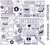 internet doodles set. school... | Shutterstock .eps vector #185762648