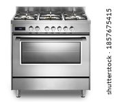 Small photo of Single Cavity Duel Fuel Range Cooker Isolated on White. Front View Stainless Steel Freestanding Kitchen Stove with Convection Oven. Domestic Major Appliances. Gas Range 5 Burners Cooktop