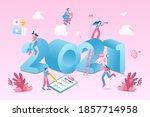 happy new year 2021. 2021... | Shutterstock .eps vector #1857714958