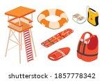 Sea Safety Icons Set. Isometric ...