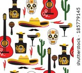 seamless mexican pattern.... | Shutterstock .eps vector #185779145