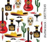 seamless mexican pattern.... | Shutterstock .eps vector #185779145