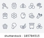 honey and beekeeping icons | Shutterstock .eps vector #185784515