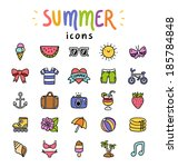 set of 25 vector summer icons | Shutterstock .eps vector #185784848