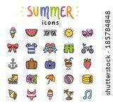 set of 25 vector summer icons | Shutterstock .eps vector #185784848