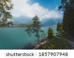 molveno lake in mountains ... | Shutterstock . vector #1857907948
