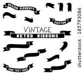 set of ribbon silhouettes.... | Shutterstock .eps vector #185793086