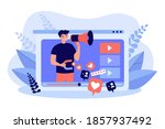 influencer with megaphone... | Shutterstock .eps vector #1857937492