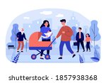 couple walking with baby... | Shutterstock .eps vector #1857938368