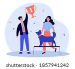 dog winning first prize. prize  ... | Shutterstock .eps vector #1857941242