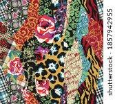 roses tartan written arabesque... | Shutterstock .eps vector #1857942955