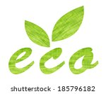 green textile word eco and... | Shutterstock . vector #185796182