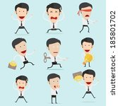 businessman character set  | Shutterstock .eps vector #185801702