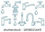 plumbing set of blue outlined... | Shutterstock . vector #1858021645