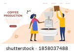concept of coffee production.... | Shutterstock .eps vector #1858037488