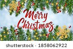 background with lettering merry ... | Shutterstock .eps vector #1858062922