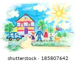 art,artwork,background,beautiful,cheerful,childhood,childrens,childs,cloud,crayon,daughter,design,draw,drawing,family