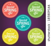 spring offer stickers | Shutterstock .eps vector #185809166