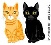 cute cats on orange tabby and... | Shutterstock .eps vector #185816192