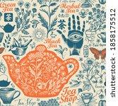 hand drawn seamless pattern on... | Shutterstock .eps vector #1858175512