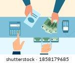 employee calculates cost of... | Shutterstock .eps vector #1858179685