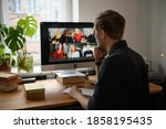 business video conferencing.... | Shutterstock . vector #1858195435