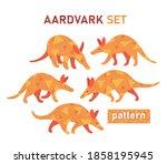 aardvark set. wonderful african ... | Shutterstock .eps vector #1858195945