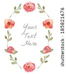 vector watercolor floral wreath ... | Shutterstock .eps vector #185821676