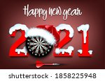 snowy new year numbers 2021 and ... | Shutterstock .eps vector #1858225948