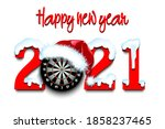 snowy new year numbers 2021 and ... | Shutterstock .eps vector #1858237465